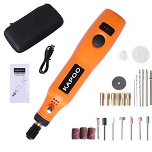 Kapoo Cordless Nail Drill Kit Rotary Tool with 26 Pcs Accessory Kit Three-Speed Mode with USB Charging Cable Cordless Rotary Tool Set for Nail Drill and Light DIY