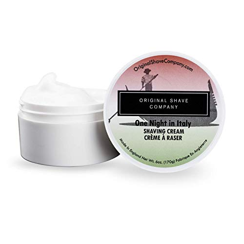 Shaving Cream For Men by Original Shave Company - Skin Hydrating Formula Made To Build a Thick Lather Perfect For All Skin Types Including Sensitive Skin - Large 6oz. (One Night In Italy)