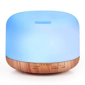 1000ML Essential Oil Diffuser For Large Room - Quiet Aroma Oil Diffuser with Adjustable Cool Mist Humidifier Mode,Remote Control Waterless Auto-off 7 Color LED Lights Changing for Home,Office Bedroom