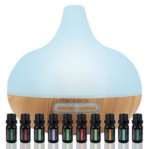 Aromatherapy Diffuser & Essential Oil Set - Ultrasonic Diffuser & Top 10 Essential Oils - 300ml Diffuser with 4 Timer & 7 Ambient Light Settings - Therapeutic Grade Essential Oils