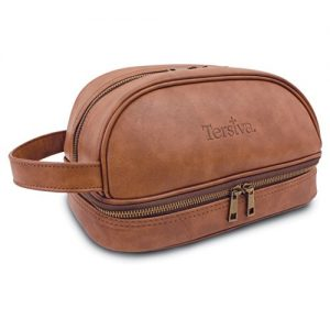 Tersiva Leather Toiletry Bag For Men Women Unisex (Dopp Kit) with free Travel Bottles