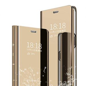 "Galaxy Note 10 Pro Flip Mirror case, Translucent Clear View Electroplate Flip Stand Luxury Case Cover for Samsung Gala"" (Gold)"