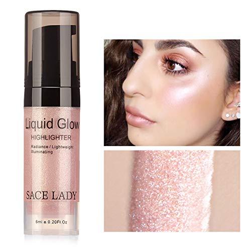 SACE LADY Shimmer Pearl Liquid Highlighter Makeup Ultra-Smooth Radiant Illuminator Face Cheekbones Glow Makeup, 6ml/0.20Fl Oz (2.Rose Gold)