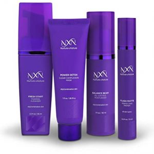 NxN Oil Control System - Set with Kaolin Clay Face Mask, Mattifying Primer, Cleansing Face Wash, Daily Moisturizer - Oily Skin Sebum Control Kit for Men & Women