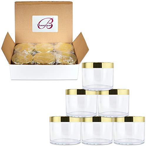 Beauticom 4 oz. (120g/120ML, Quantity: 6 Pieces) Thick Wall Round Leak Proof Clear Acrylic Jars w/Lids for Beauty, Cream (6 Pieces (6 Jars + Lids Together), GOLD)