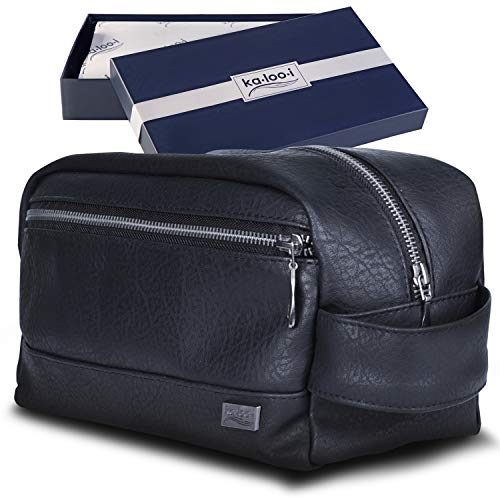 Travel Toiletry Bag for Men or Women - Leather Dopp Kit & Toiletries Organizer for Gym, Grooming & Shaving, Makeup Brushes & Cosmetics, Waterproof Lining | Perfect Gift - Comes in Premium Gift Box