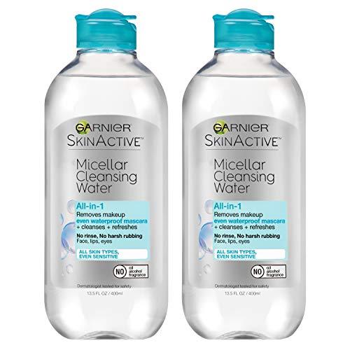 Garnier SkinActive Micellar Cleansing Water, For Waterproof Makeup, 13.5 Fl Oz, 2 Count