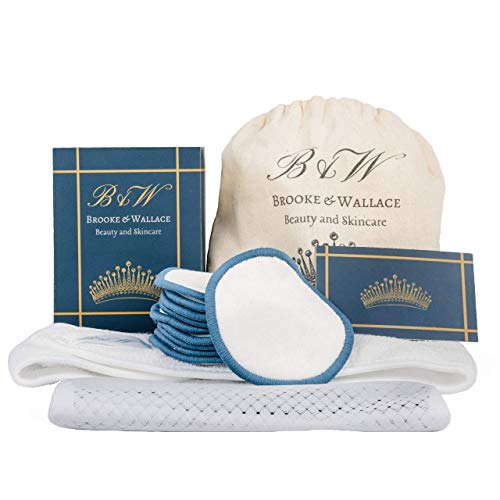 Brooke & Wallace Beauty and Skincare   16 Pack Complete Kit with Headband   Reusable Makeup Remover Pads   Luxury Premium Face Wipes   Natural Bamboo