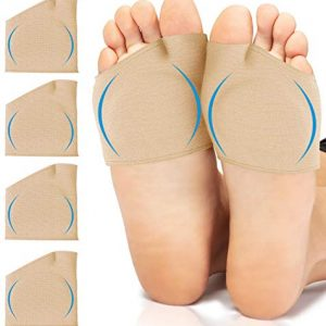 Metatarsal Sleeve with Gel Pads - 2 Pairs - Ball of Foot Cushions with Soft Gel - Fabric Compression - Help Metatarsalgia, Mortons, Neuroma, Calluses Blisters, Diabetic Feet - for Women, Men (Nude)