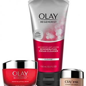 Face Wash by Olay Anti-Aging Skincare Kit with Regenerist Cleanser, Moisturizer & Eye Cream
