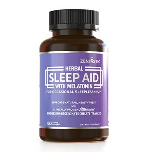 Zentastic Herbal Sleep Aid – Drug Free & Non-Habit-Forming Sleeping Pills for Adults – Melatonin, Valerian, Suntheanine, Magnesium, More – Anxiety and Insomnia Relief – Made in USA, 60 Capsules