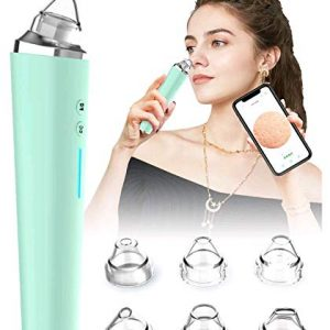 Electric Blackhead Remover, Visual Electric Facial Pore Cleaner Phone Linked Display WiFi Beauty Device for Skin Care, Powerful Removal Blackhead Acne Extractor with 6 Replaceable Probes (Green)