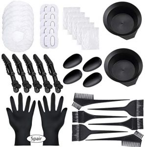 47 Pieces Hair Dye Coloring Kit Hair Tinting Bowl Dye Brush, Ear Cover, Gloves for Hair Coloring Bleaching Hair Dryers DIY Salon Hair Dye Tools Hair Dye Tools