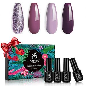 Beetles 4 Colors Purple Glitter Gel Nail Polish Set - Lilac Mauve Gel Polish Kit Light Purple Nail Polish Soak Off UV LED Lamp Gel Nail Kit Vanish Manicure DIY Home Holiday Gift Set