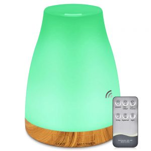 Essential Oil Air Mist Diffuser - 300ML Quiet Aroma Essential Oil Diffuser with Adjustable Cool Mist Humidifier Mode Waterless Auto-off 7 Color LED Lights Changing for Office Home Bedroom Living Room