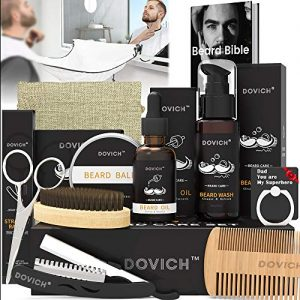 12 In 1 Beard Grooming Care Kit For Men, Dovich 100% Natural Beard Oil Leave-in Conditioner,Beard Apron Bib,Beard Razor,Beard Shampoo, Beard Balm, Beard Brush