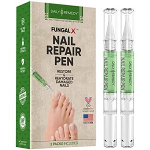 DAILY REMEDY Nail Repair Pen Set – 2-Pen Fingernail & Toenail Health Care Bundle – Natural Essential Oil Nail Fungus Treatment – Repairs Nail Damage, Renews Broken, Cracked & Discolored Nails