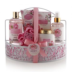 Mothers Day Spa Gift Basket - Wild Rose & Raspberry Leaf Scent - Luxury 7 Piece Bath & Body Set For Men/Women, Contains Shower Gel, Lotion, Body Scrub, Bath Salt, Body Mist, Bath Puff & Shower Caddy