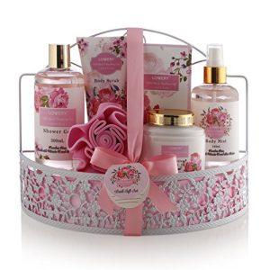Mothers Day Spa Gift Basket - Wild Rose & Raspberry Leaf Scent - Luxury 7 Piece Bath & Body Set For Men/Women, Contains Shower Gel, Lotion, Body Scrub, Bath Salt, Body Mist, Bath Puff & Shower Caddy
