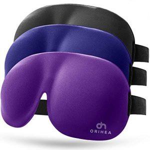 Eye Mask 3 Pack, OriHea 3D Plus Large Sleep Mask for Women& Men, Comfortable Eye Cover, Eye Shade, No Pressure for Eyes, Upgraded Nose Bridge Effectively Blocking Lights Black/Purple/Blue
