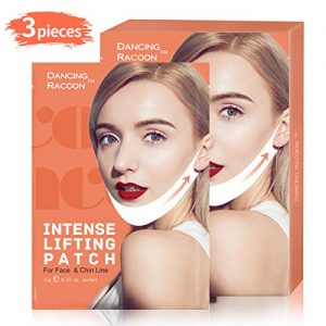 Pack of 3 Dancing Racoon Double Chin Reducer V Line Chin Up Intense Lifting Mask, Chin Strap, Chin Mask, Face Lift, Neckline Slimmer, Moisturizing and Firming
