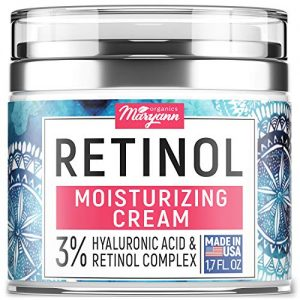Anti Aging Retinol Moisturizer Cream for Face - Natural and Organic Night Cream - Made in USA - Wrinkle Cream for Women and Men - Facial Cream with Hyaluronic Acid and 3% Retinol Complex