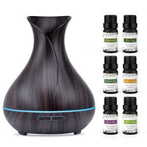 ASAKUKI 400ml Essential Oil Diffuser with 6 Bottles 10ml Pure Natural Essential Oils, Auto Shut-Off - for Home, Office, Spa, Study, Gym