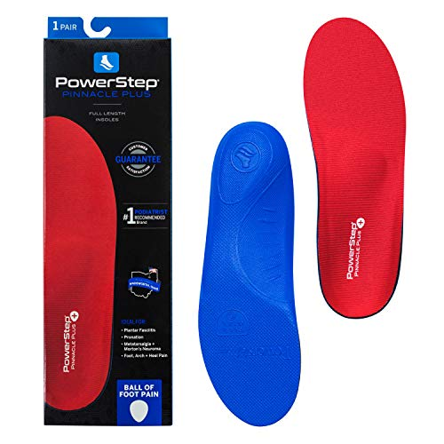 Powerstep Pinnacle Plus Orthotic Inserts, Red/Blue, Men's 9-9.5 / Women's 11-11.5