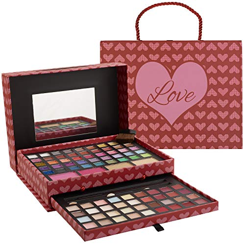 Makeup Kits for Teens - 2-Tier Love Make Up Gift Set and Eyeshadow Palette for Teen Girls and Juniors -Variety Shade Array - Full Starter Kit for Beginners or Pros by Toysical