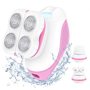 Electric Razor for Women, 3 in 1 Painless Electric Shaver with Facial Massager & Cleansing Brush, Waterproof & Rechargeable Lady Body Epilator, Hair Removal for Legs, Arms, Underarms & Bikini Line