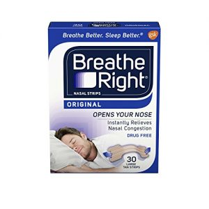 Breathe Right Original Nose Strips to Reduce Snoring and Relieve Nose Congestion, Drug-Free, Pack of 30 Large Tan Nasal Strips