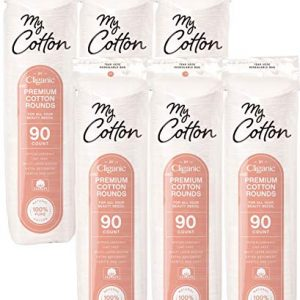 My Cotton Premium Cotton Rounds for Face (540 Count) | Makeup Remover Pads, Hypoallergenic, Lint-Free | 100% Pure Cotton