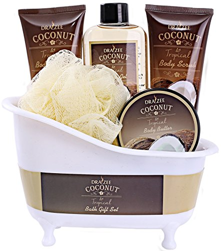 Draizee Coconut Home Gift Spa Basket, Luxury 5 piece Relaxation Set for Mom, New Mother with Bathtub Holder - #1 Best Mother's Day Gift Includes Body Scrub, Body Lotion, Shower Gel and More
