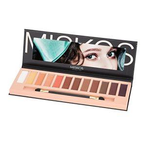 MISKOS 12 Colors Nude Tude Eyeshadow Palette Shimmer Matte Eye Makeup Pallete Set Highly Pigmented Red Dark Naked Eye Shadow Pallet (Matte A)
