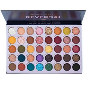 Beauty Glazed Reversal Planet Eyeshadow Palette, High Pigmented 40 Colors Natural Makeup Pallets Easy to Blend Shades Metallic Matte Glitter Shimmers Eyeshadow Sweatproof and Waterproof Eye Shadow