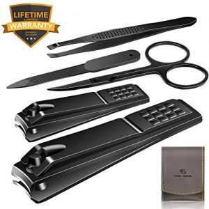 Nail Clippers Set Stainless Steel Nail Cutter Pedicure Kit 5 Piece Nail File Sharp Nail Scissors Manicure Fingernails & Toenails with Portable Travel Case (Black_A)
