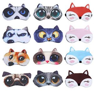 PINCHUANG 12Packs Animal Sleep Mask - Soft Funny Blindfolds Sleeping Mask, Cute Cat Dog Eye Cover for Kids Girls Men Women PlaneTravel Nap Night Sleeping