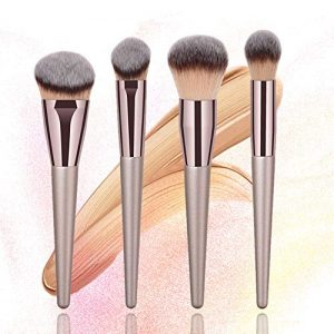 BBL 4pcs Luxury Champagne Gold Makeup Brush Set, Premium Synthetic Foundation Blending Powder Liquid Cream Buffing Tapered Concealer Contour Face Kabuki Make Up Brushes cosmetics tools applicator