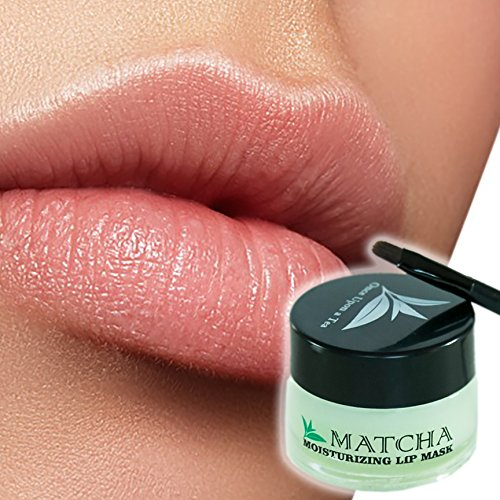 Moisturizing Green Tea Matcha Sleeping Lip Mask Balm, Younger Looking Lips Overnight, Best Solution For Chapped And Cracked Lips, Unique Formula And Power Benefits Of Green Tea (Matcha)