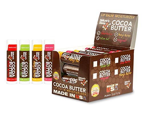 Nature's Bees, Cocoa Butter Lip Balms, Lip Moisturizer Treatment - Pack of 24, (Original Variety Assortments - Original, Olive Oil, Mango Butter, Shea Butter)