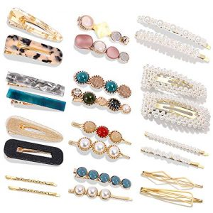 24 Pcs Hair Clips - Cehomi Fashion Korean Style Pearls Hair Clips Barrettes Sweet Artificial Macaron Acrylic Resin Hairpins for Women,Ladies and Girls Headwear Styling Tools Hair Accessories