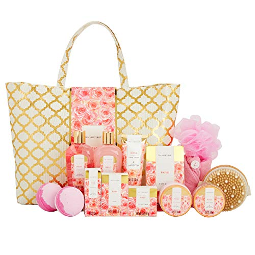 Spa Luxetique Spa Gift Basket, Rose Bath Gifts for Women, Luxury 15 Pcs Bath and Body Gift Set, Relaxing at Home Bath Set Includes Massage Oil, Bath Salt, Bubble Bath. Best Spa Gifts for Women.