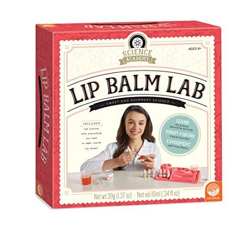 MindWare Science Academy Lip Balm lab - Kit Includes 18pcs to Teach Kids & Teens Cosmetic Chemistry - Boys & Girls Make and Test Easy DIY Lip balms