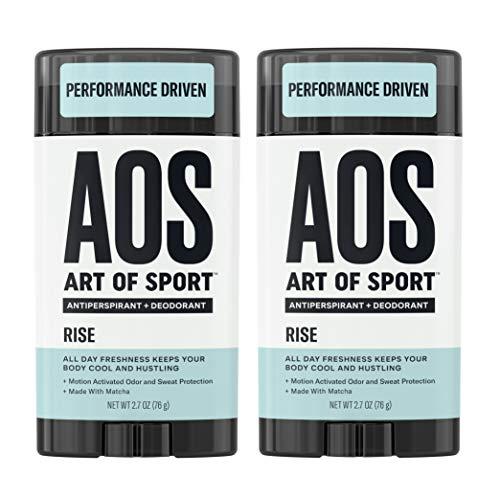 Art of Sport Men's Antiperspirant Deodorant Stick (2-Pack), Rise Scent, Athlete-Ready Formula with Matcha, 2.7 oz