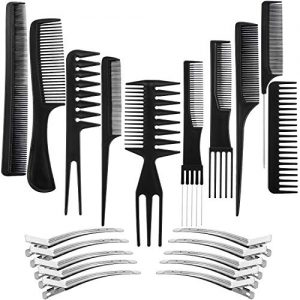 10 Pack Hair Stylists Styling Comb Set with 10 Pack Duck Bill Clips Salon Barber Anti-static Hair Combs Styling Comb Set Hair Styling Comb with Silver Metal Clip (Black)