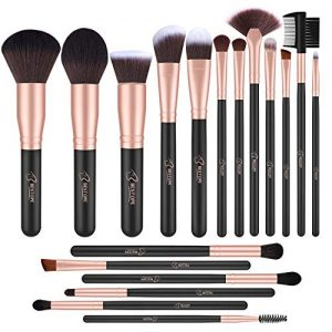BESTOPE 18 Pcs Makeup Brushes Premium Synthetic Fan Foundation Powder Kabuki Brushes Concealers Eye Shadows Make Up Brushes Kit, Rose Gold