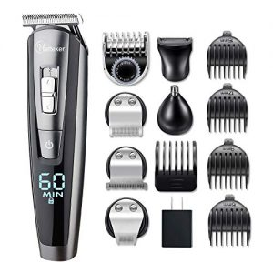 HATTEKER Hair Clipper Beard Trimmer Kit For Men Cordless Hair Mustache Trimmer Hair Cutting Groomer Kit Precision Trimmer Waterproof USB Rechargeable 5 In 1