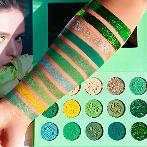 Avocado Green Eyeshadow Palette DE'LANCI 15 Color Bright Eye Shadow Christmas Makeup Pallete Matte Shimmer Glitter Highly Pigmented Vegan Eye Shadow Powder Long Lasting Cosmetic