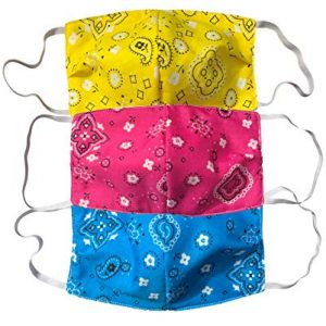 Face Mask Bandana 3-Pack Made in USA Woven Cotton Washable Reusable Protective Multipurpose