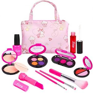 LOYO Girls Pretend Play Makeup Sets Fake Make Up Kits with Cosmetic Bag for Little Girls Birthday Christmas, Toy Makeup Set for Toddler Girls Age 2, 3, 4, 5 (Not Real Makeup)